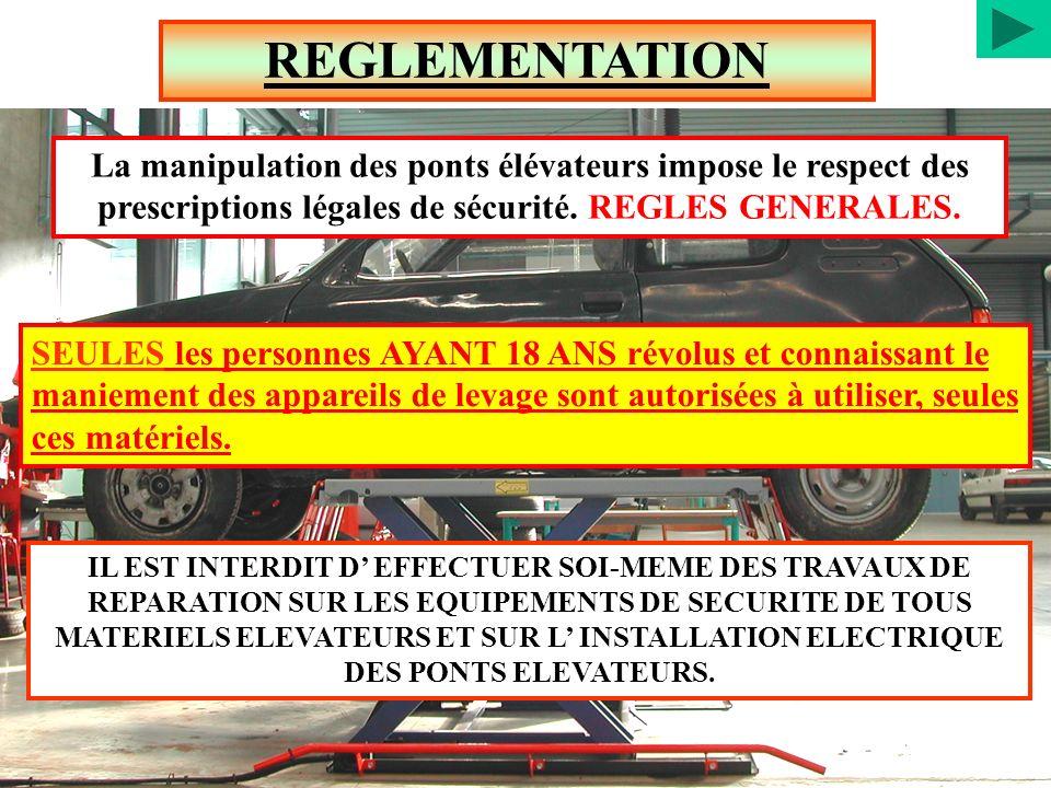 REGLEMENTATION La manipulation des ponts élévateurs impose le respect des prescriptions légales de sécurité. REGLES GENERALES.