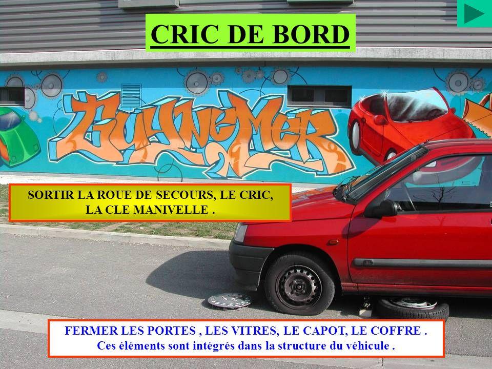 CRIC DE BORD SORTIR LA ROUE DE SECOURS, LE CRIC, LA CLE MANIVELLE .