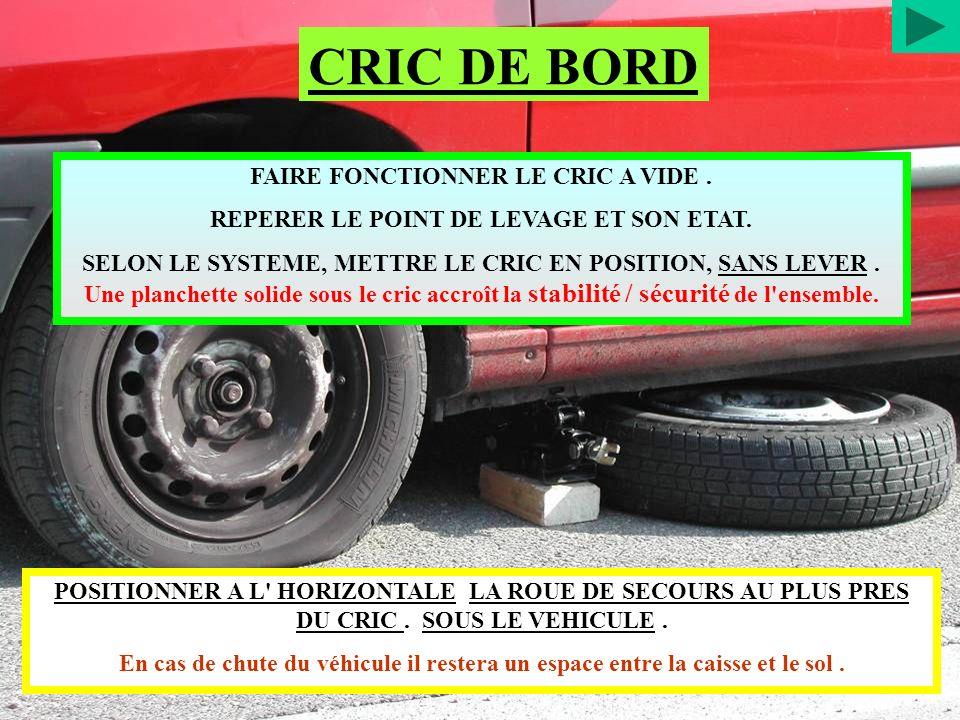 CRIC DE BORD FAIRE FONCTIONNER LE CRIC A VIDE .
