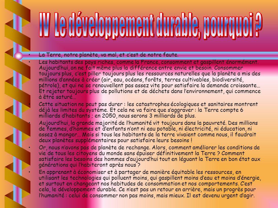 IV Le développement durable, pourquoi