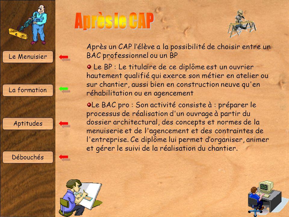 Après le CAP Après un CAP l'élève a la possibilité de choisir entre un BAC professionnel ou un BP.