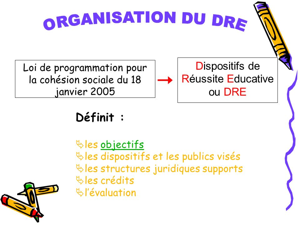 ORGANISATION DU DRE Définit : Dispositifs de Réussite Educative ou DRE