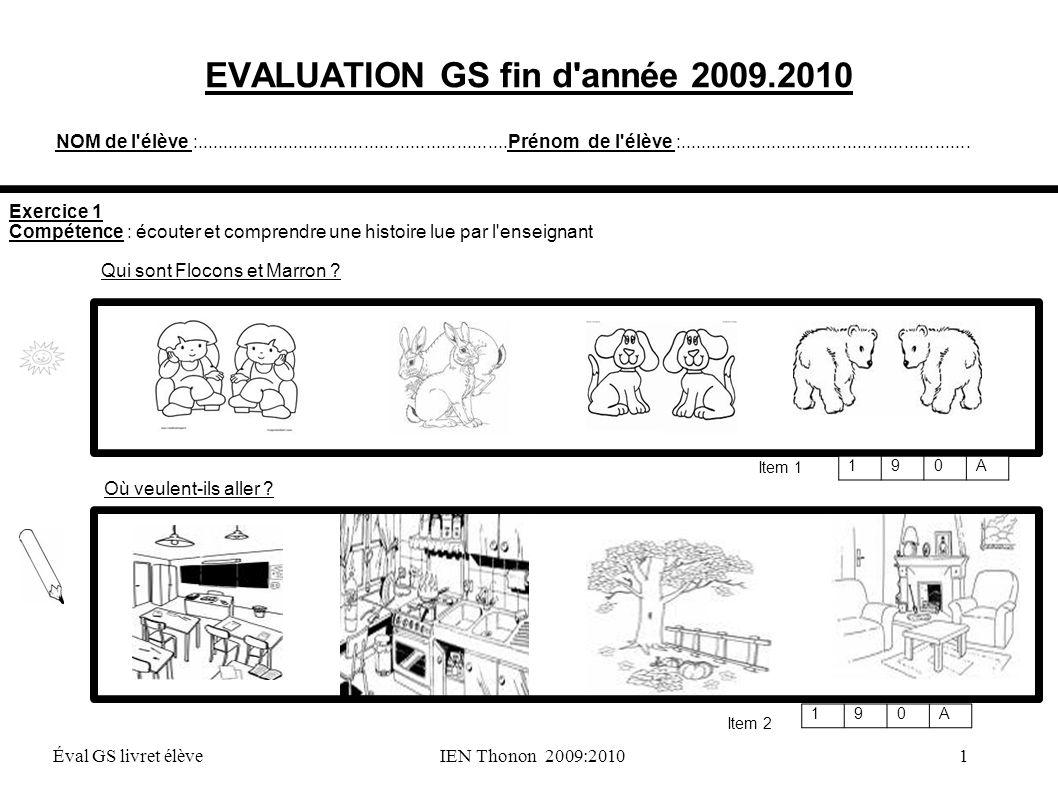 EVALUATION GS fin d année 2009.2010
