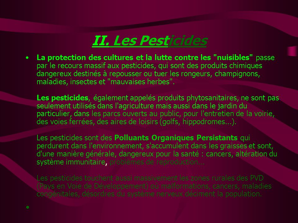 II. Les Pesticides