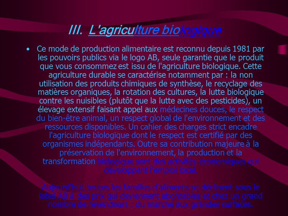 III. L agriculture biologique