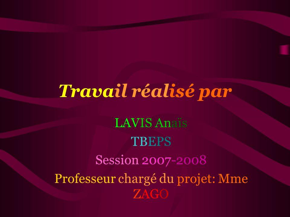 Professeur chargé du projet: Mme ZAGO