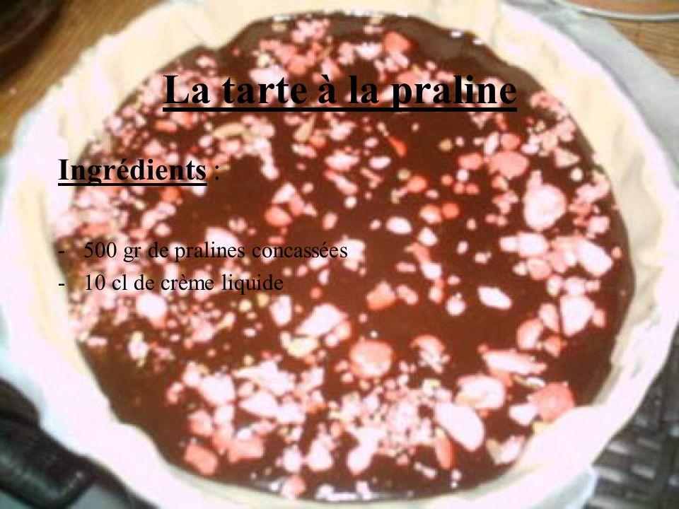 La tarte à la praline Ingrédients : 500 gr de pralines concassées