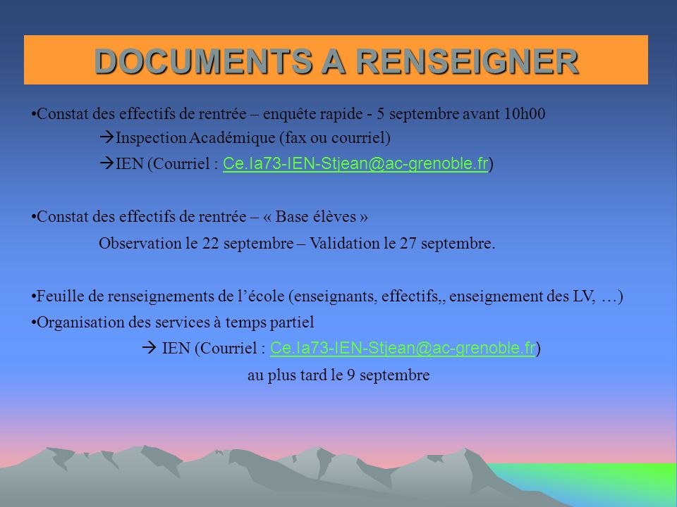 DOCUMENTS A RENSEIGNER