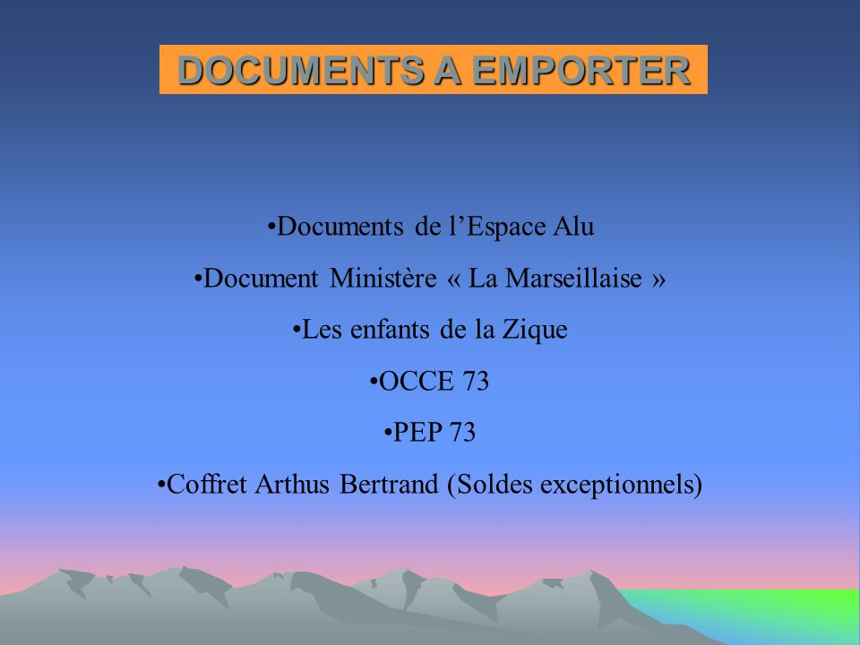 DOCUMENTS A EMPORTER Documents de l'Espace Alu