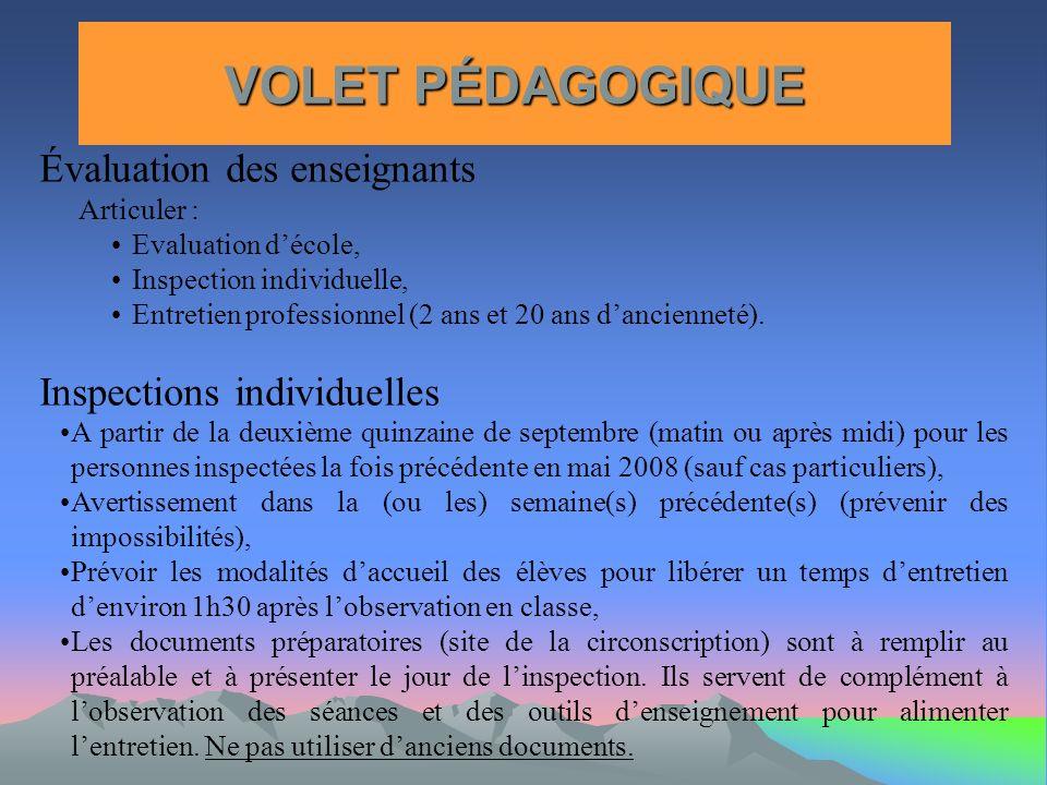 VOLET PÉDAGOGIQUE Évaluation des enseignants Inspections individuelles