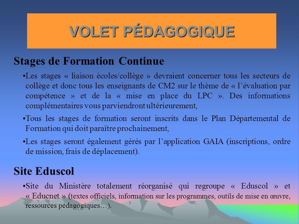 VOLET PÉDAGOGIQUE Stages de Formation Continue Site Eduscol