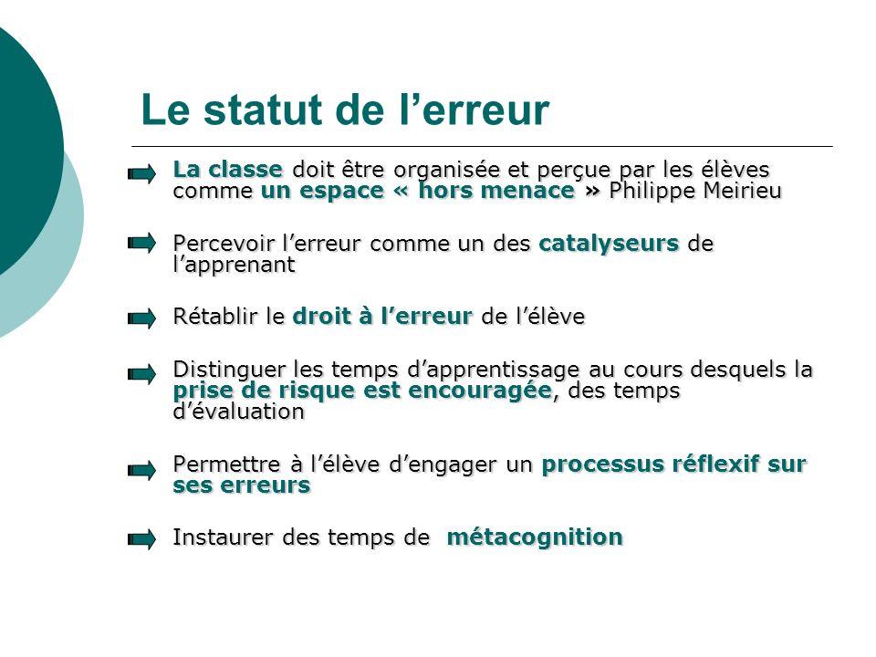 Le statut de l'erreur La classe doit être organisée et perçue par les élèves comme un espace « hors menace » Philippe Meirieu.