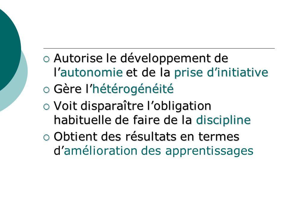 Autorise le développement de l'autonomie et de la prise d'initiative
