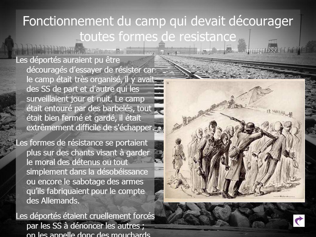 Fonctionnement du camp qui devait décourager toutes formes de resistance