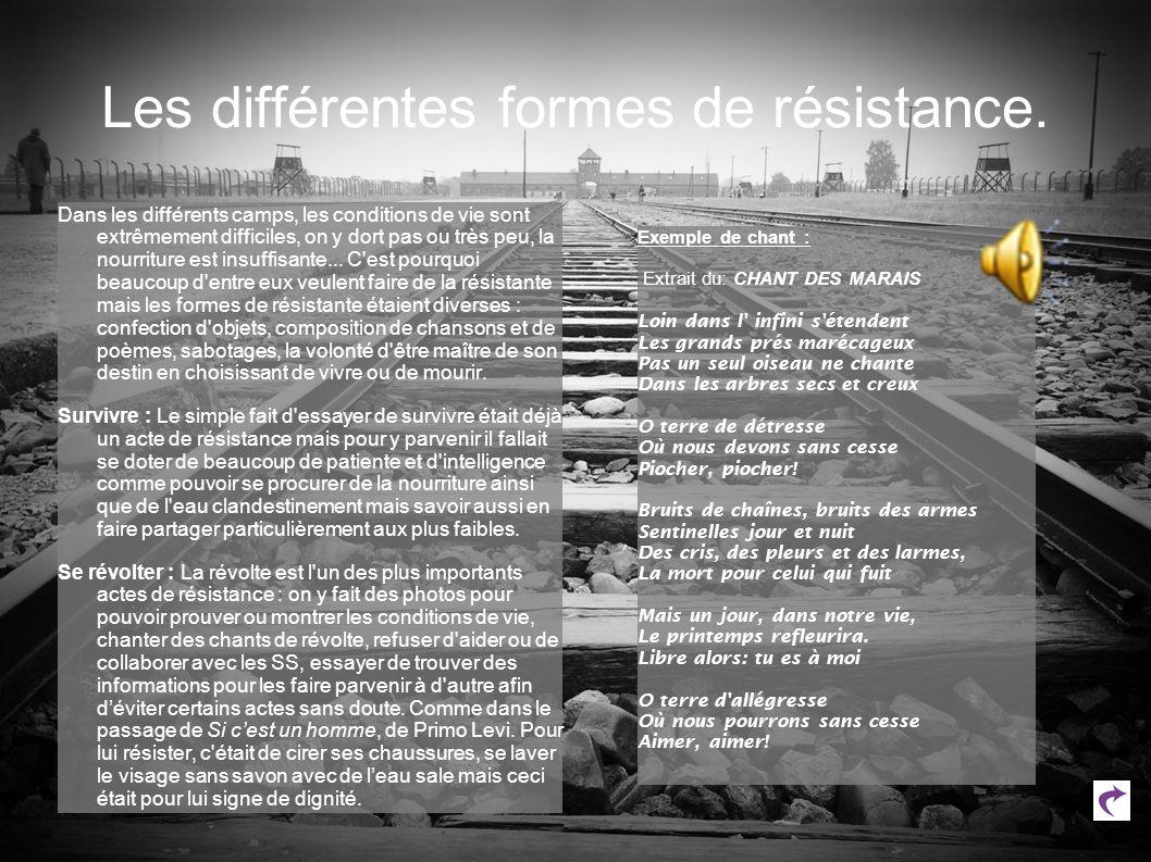 Les différentes formes de résistance.