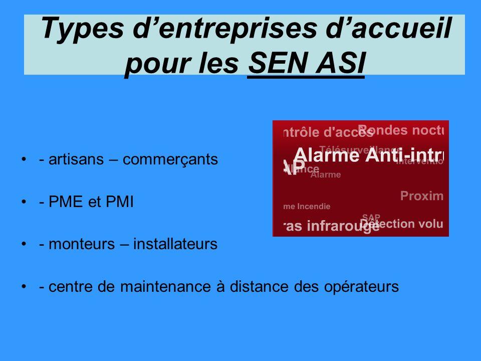 Types d'entreprises d'accueil pour les SEN ASI