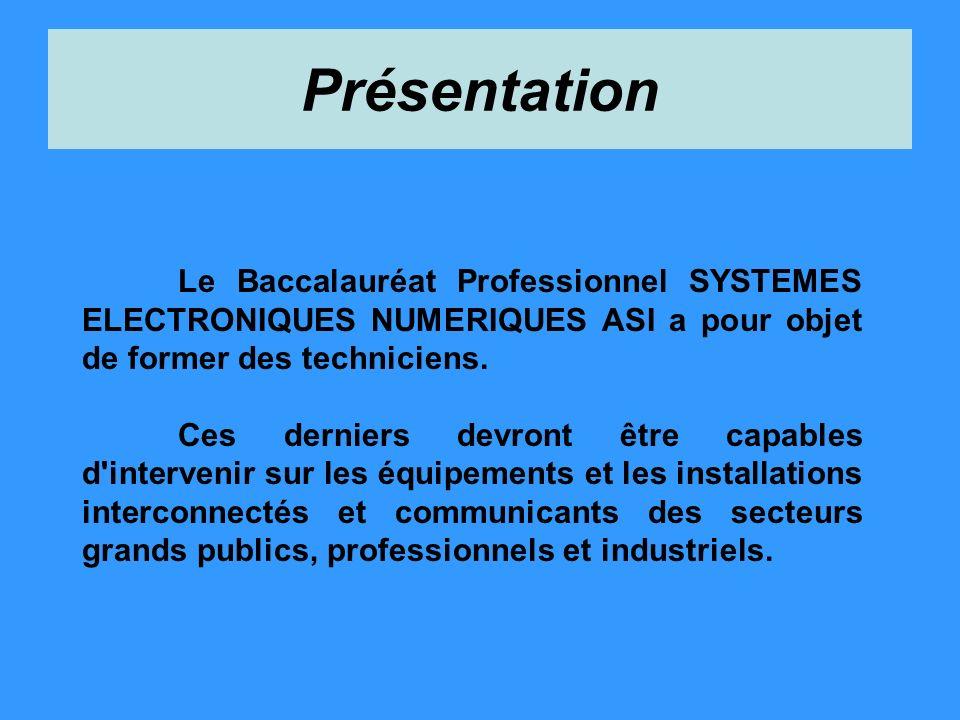 Présentation Le Baccalauréat Professionnel SYSTEMES ELECTRONIQUES NUMERIQUES ASI a pour objet de former des techniciens.