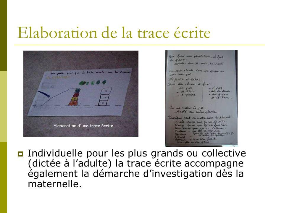 Elaboration de la trace écrite