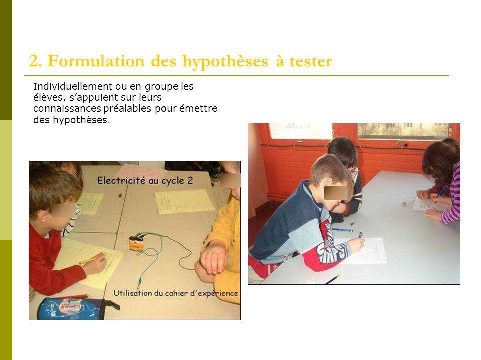2. Formulation des hypothèses à tester