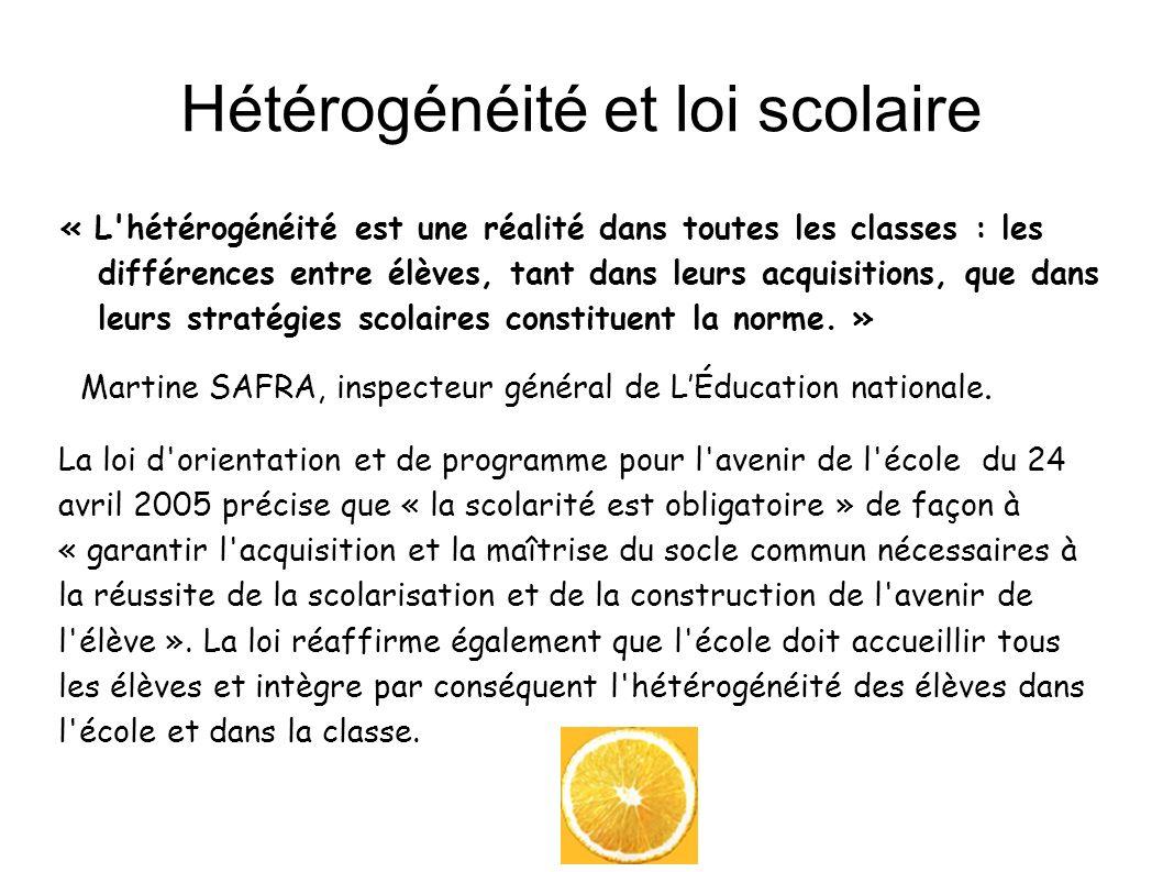 Hétérogénéité et loi scolaire