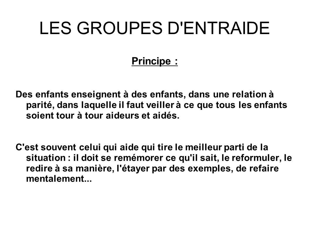 LES GROUPES D ENTRAIDE Principe :