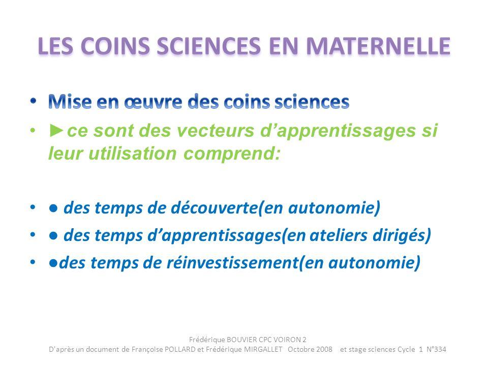 LES COINS SCIENCES EN MATERNELLE