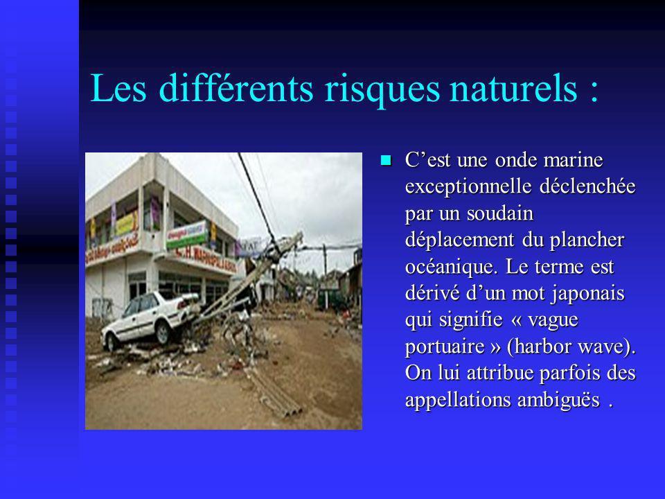 Les différents risques naturels :