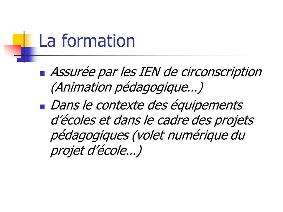La formation Assurée par les IEN de circonscription (Animation pédagogique…)