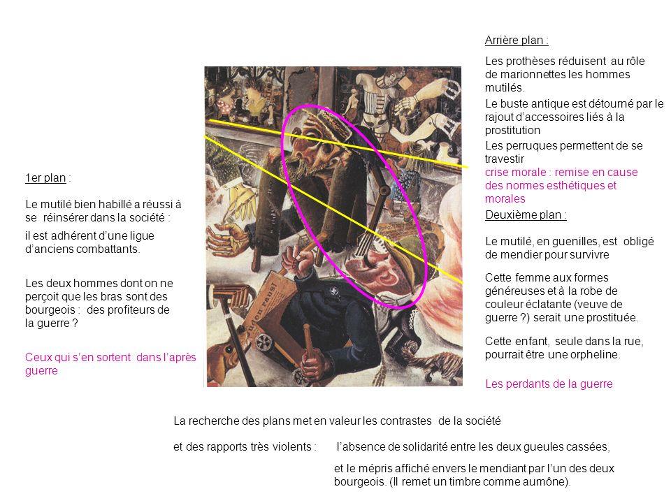 Arrière plan : Les prothèses réduisent au rôle de marionnettes les hommes mutilés.