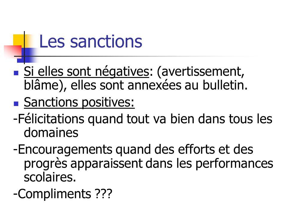 Les sanctions Si elles sont négatives: (avertissement, blâme), elles sont annexées au bulletin. Sanctions positives:
