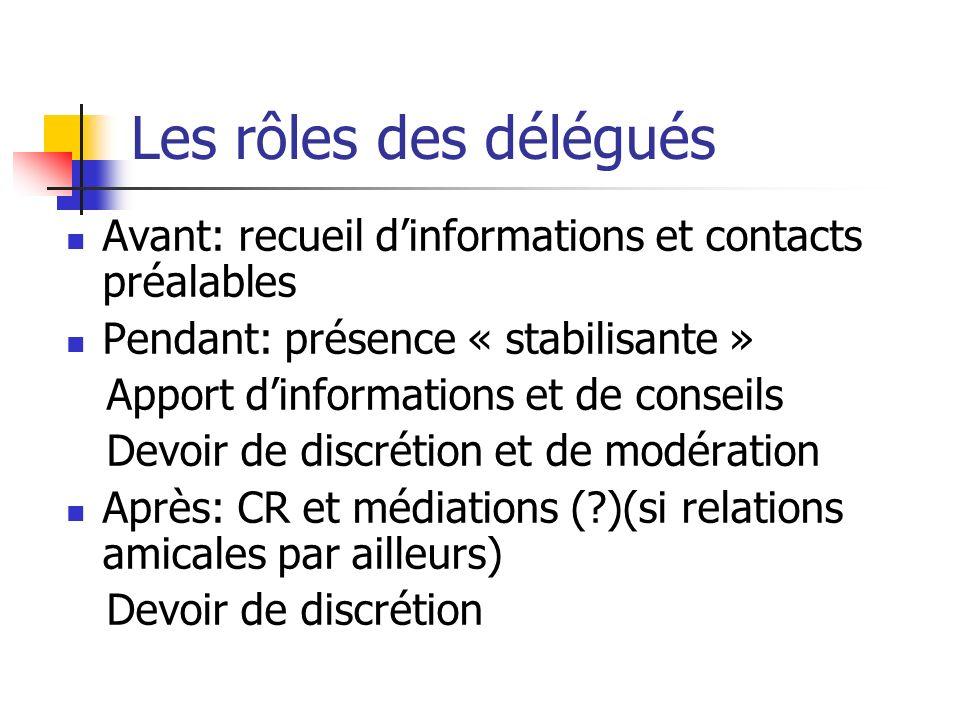 Les rôles des délégués Avant: recueil d'informations et contacts préalables. Pendant: présence « stabilisante »