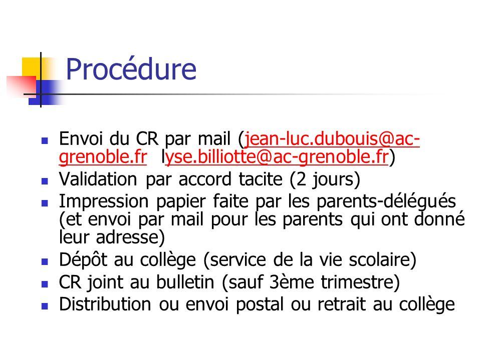 Procédure Envoi du CR par mail (jean-luc.dubouis@ac-grenoble.fr lyse.billiotte@ac-grenoble.fr) Validation par accord tacite (2 jours)