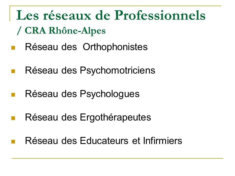 Les réseaux de Professionnels / CRA Rhône-Alpes