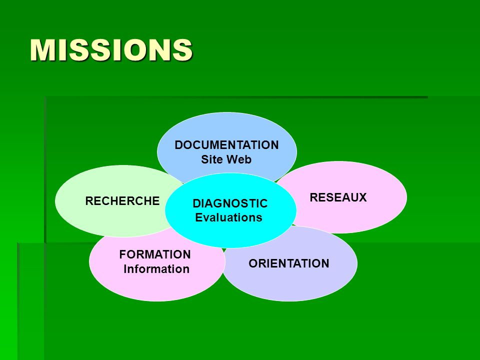 MISSIONS DOCUMENTATION Site Web RESEAUX RECHERCHE DIAGNOSTIC