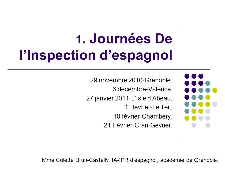 1. Journées De l'Inspection d'espagnol