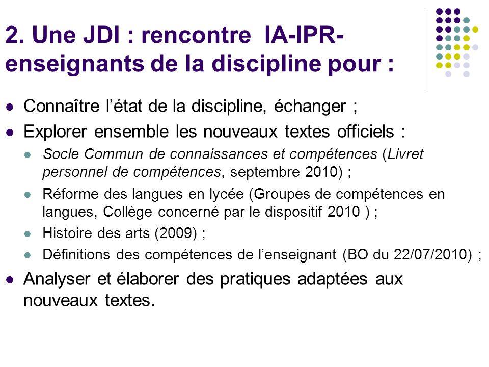 2. Une JDI : rencontre IA-IPR- enseignants de la discipline pour :
