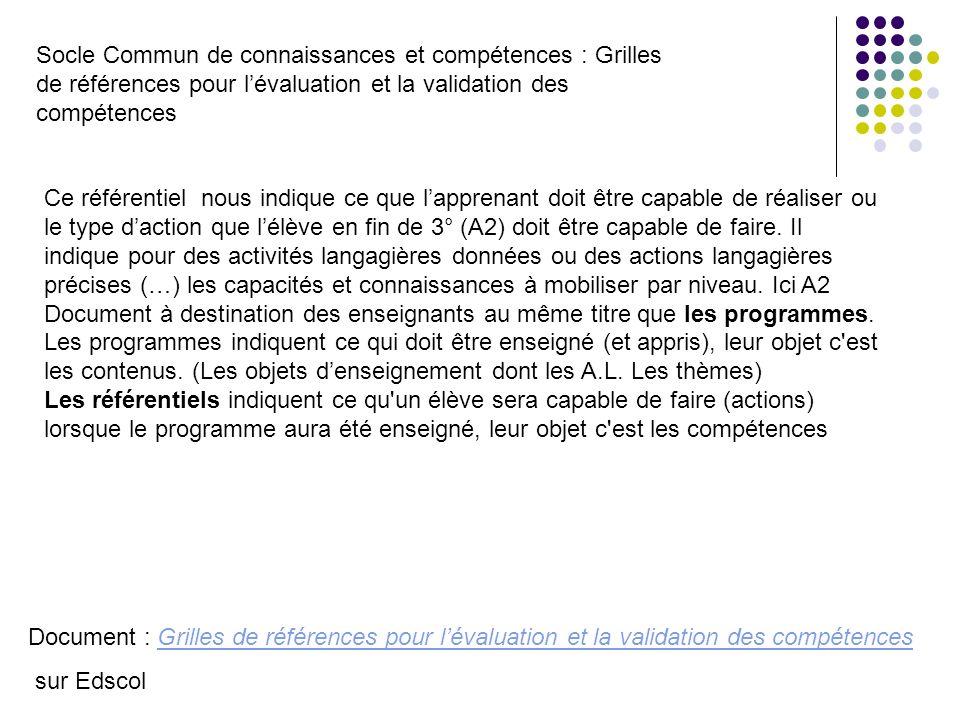 Socle Commun de connaissances et compétences : Grilles de références pour l'évaluation et la validation des compétences