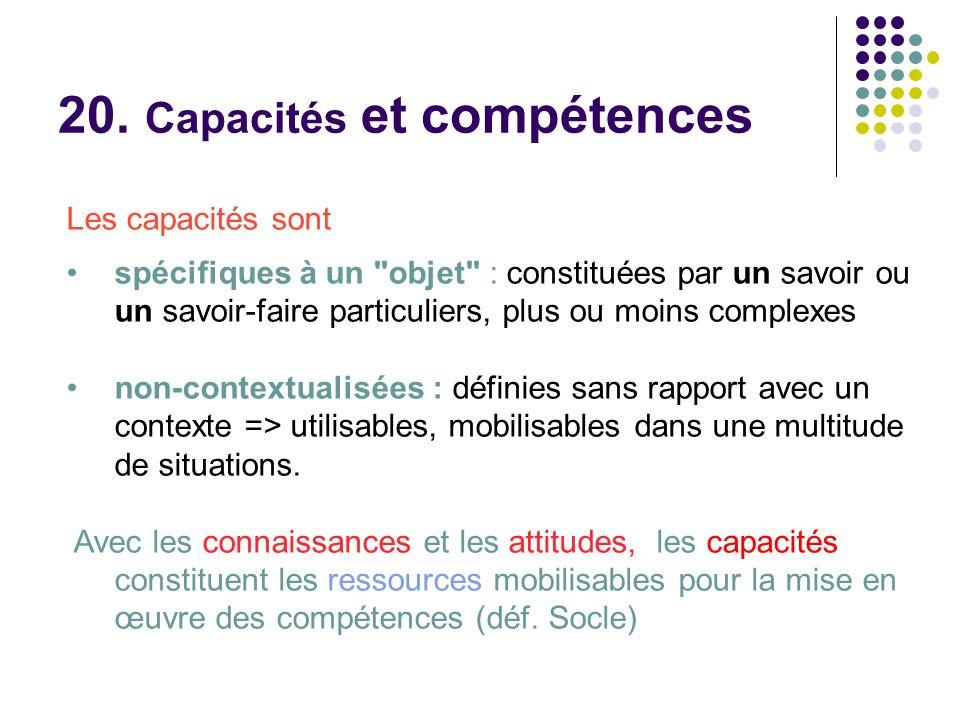 20. Capacités et compétences