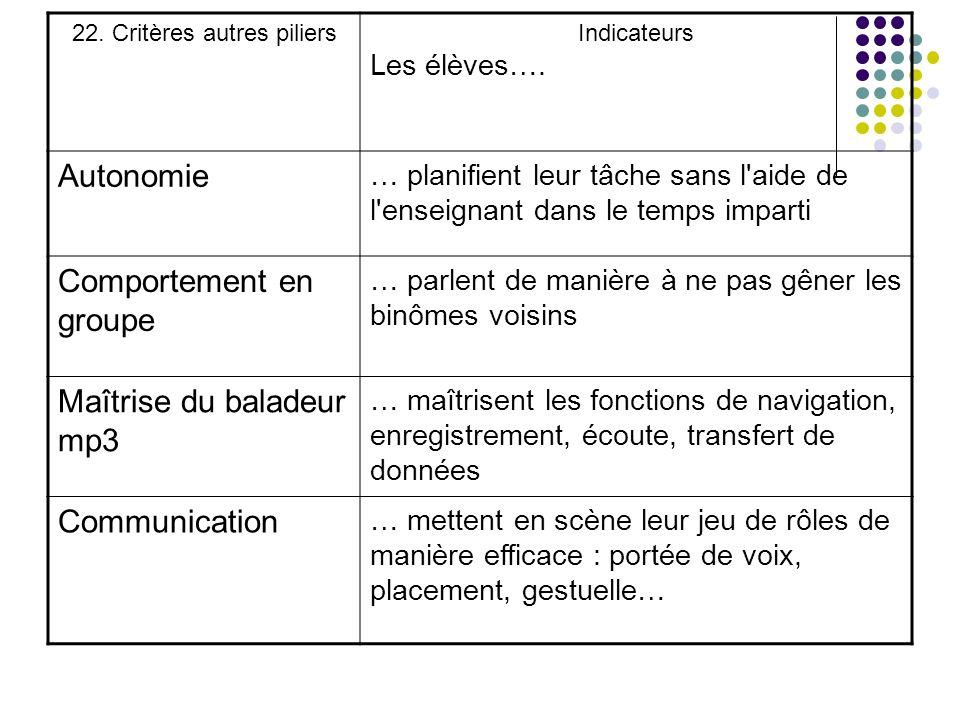 22. Critères autres piliers