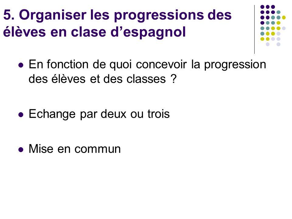 5. Organiser les progressions des élèves en clase d'espagnol