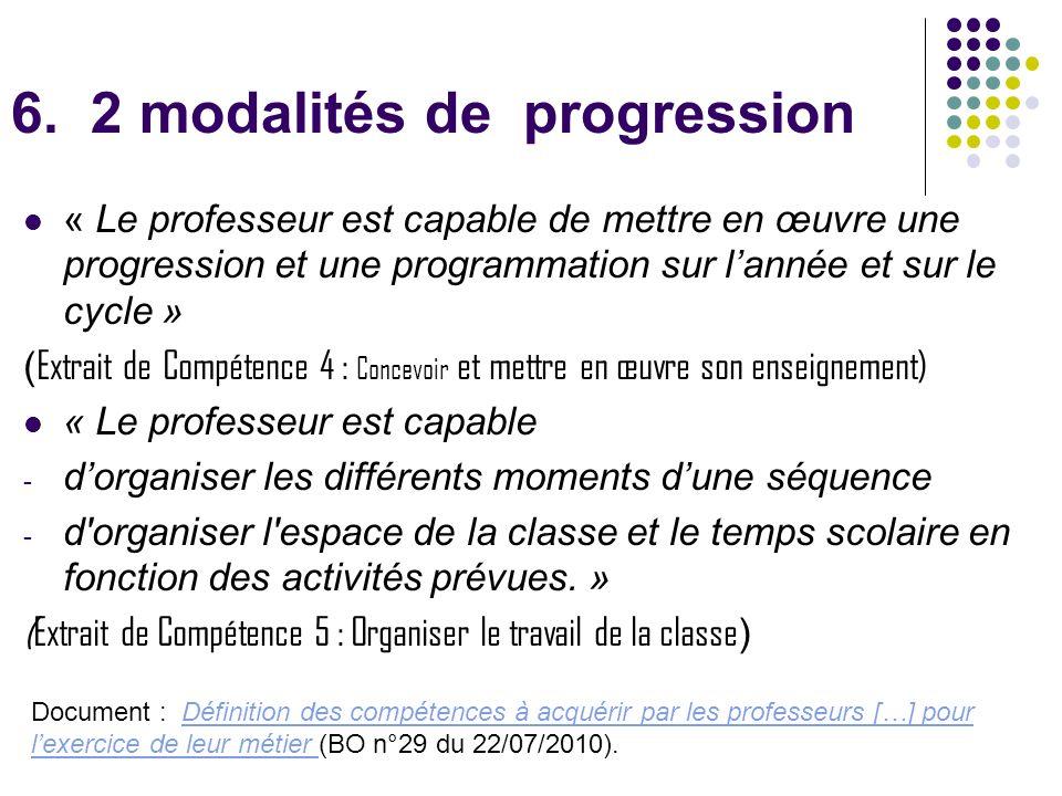 6. 2 modalités de progression