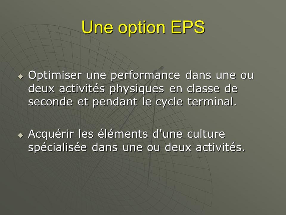 Une option EPS Optimiser une performance dans une ou deux activités physiques en classe de seconde et pendant le cycle terminal.