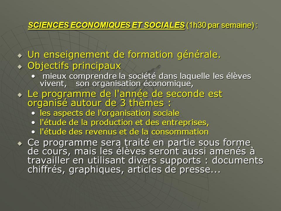 SCIENCES ECONOMIQUES ET SOCIALES (1h30 par semaine) :