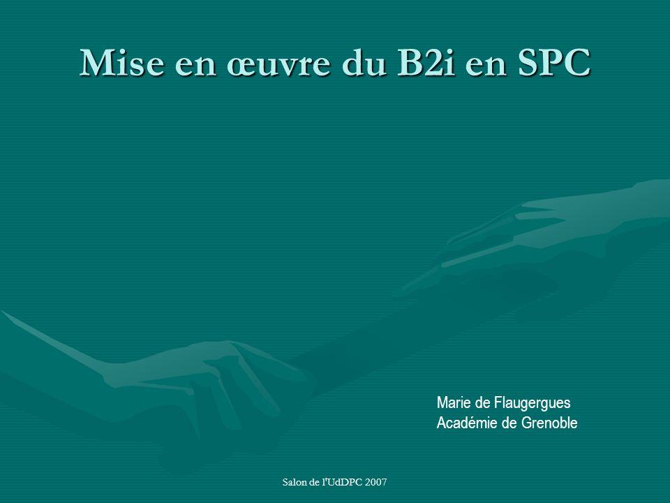 Mise en œuvre du B2i en SPC