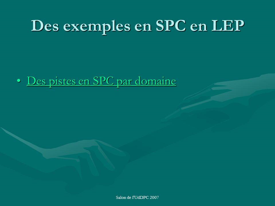 Des exemples en SPC en LEP