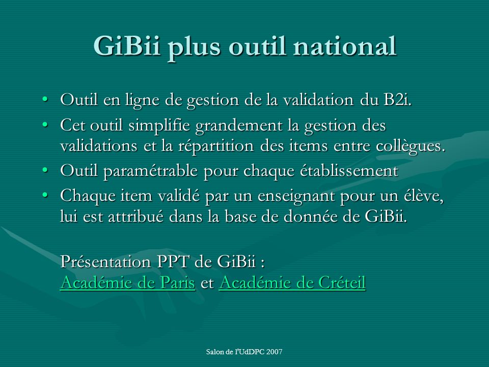 GiBii plus outil national