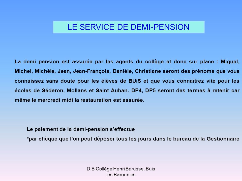 LE SERVICE DE DEMI-PENSION