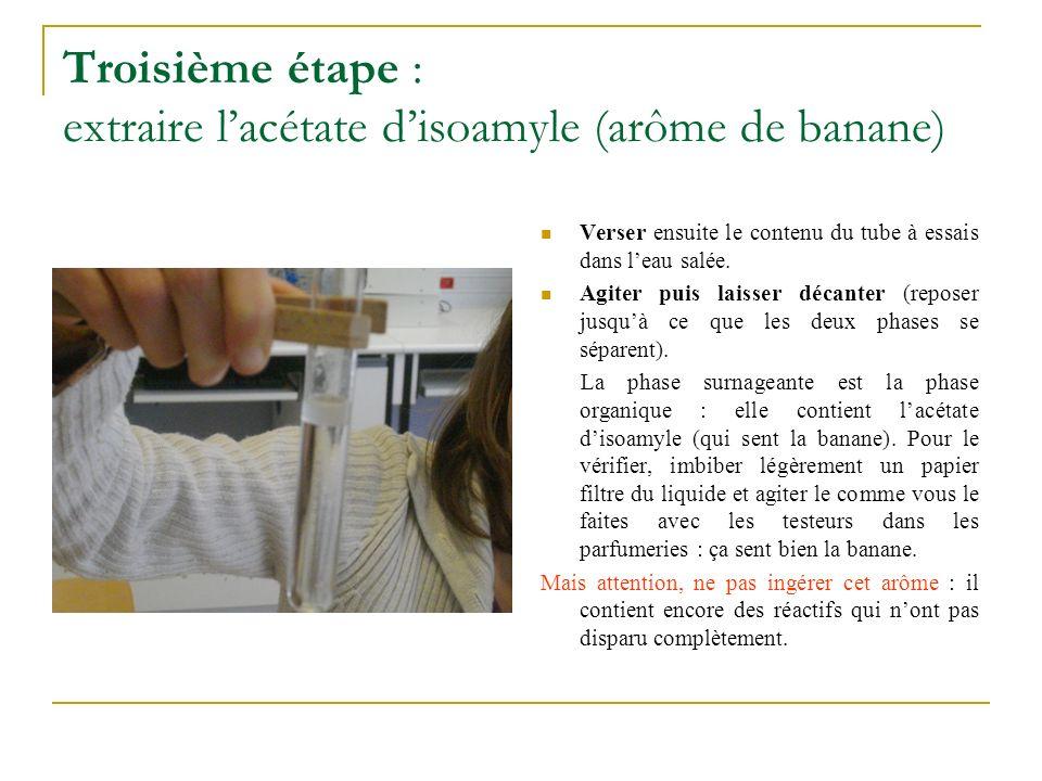 Troisième étape : extraire l'acétate d'isoamyle (arôme de banane)