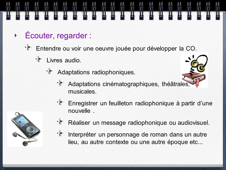 Écouter, regarder : Entendre ou voir une oeuvre jouée pour développer la CO. Livres audio. Adaptations radiophoniques.