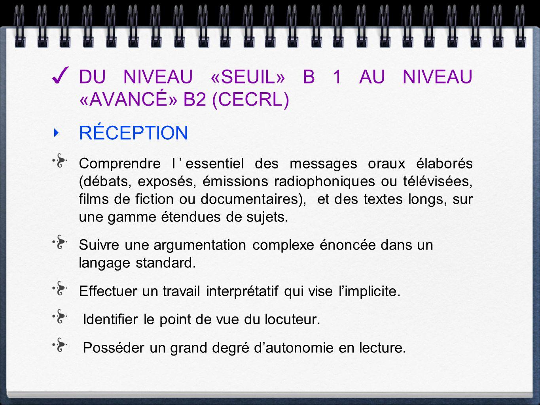 DU NIVEAU «SEUIL» B 1 AU NIVEAU «AVANCÉ» B2 (CECRL) RÉCEPTION